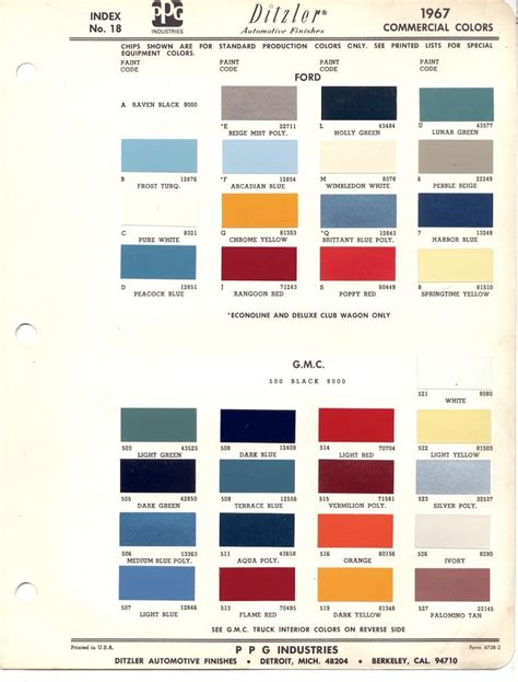 paint chips 1967 gmc color wheel trucks gmc trucks