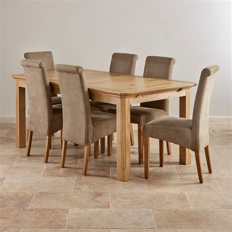 Solid Oak Dining Table And 6 Chairs Edinburgh Solid Oak Dining Set 6ft Extending Table With 6 Scroll Back Plain