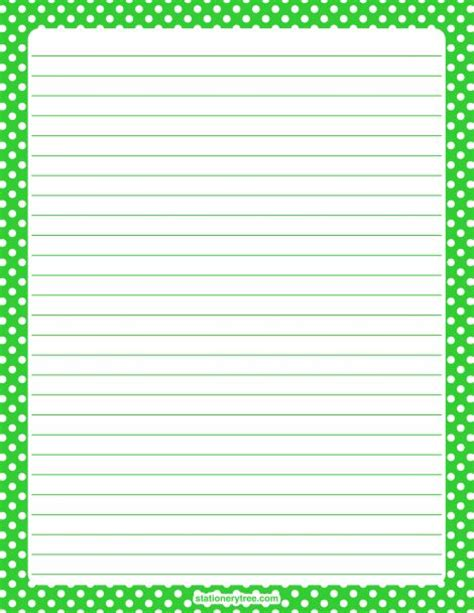 printable dot stationery printable lime green and white polka dot stationery and