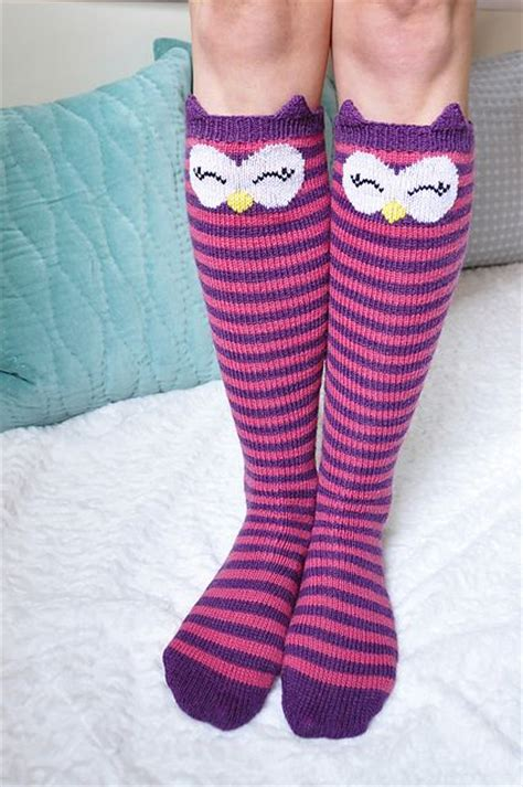 pattern for owl socks quot check meowt quot cat owl and panda knee high socks pattern