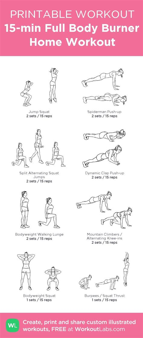 free home workout plans printable 15 minute full body burner home workout plan