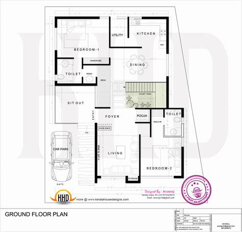 2828 ground floor plan contemporary residence design kerala home design and floor plans