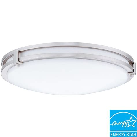 Lithonia Lighting Saturn 1 Light Brushed Nickel Fluorescent Light Ceiling