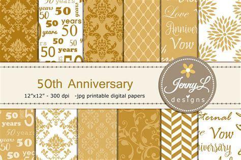 50th Golden Wedding Anniversary Digital   Design Bundles