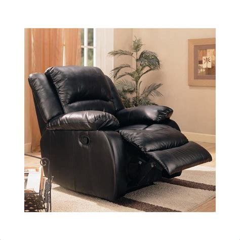black leather rocking recliner faux leather rocker recliner in black 600248