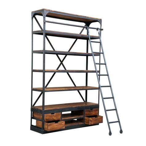 industrial bookcase with ladder industrial shelf unit with ladder retail display andy