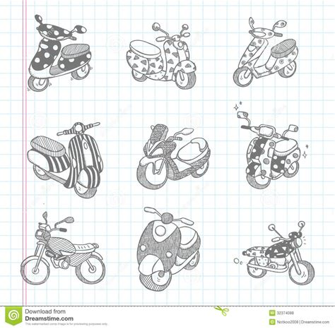 doodle motorcycle doodle motorcycle icons royalty free stock photos image