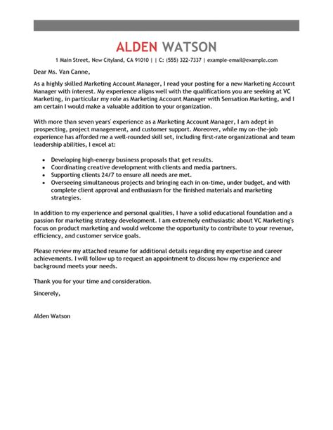 account manager cover letter examples templates