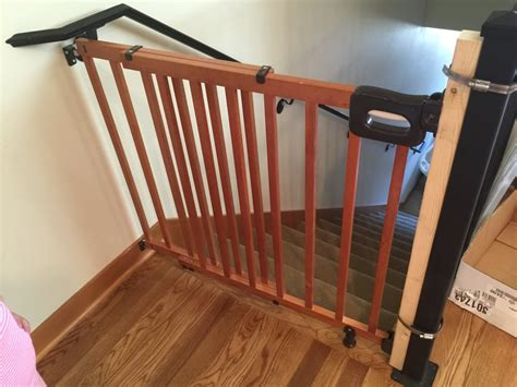 double banister baby gate rigging a baby gate with a 2x4 metal zip ties isn t my