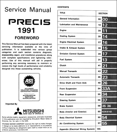 automotive service manuals 1993 mitsubishi precis auto manual 1991 mitsubishi precis repair shop manual original