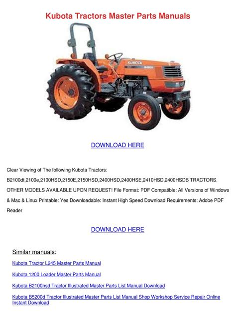 Kubota Tractors Master Parts Manuals By Hannahcoble Issuu