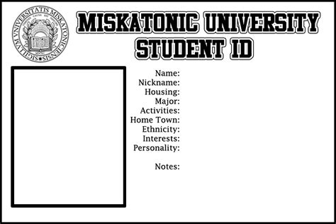 Call Of Cthulhu Student Id Template The Labyrinth Student Id Template