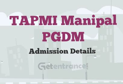 Manipal For Mba 2016 by Tapmi Manipal Pgdm Admission 2016 Getentrance