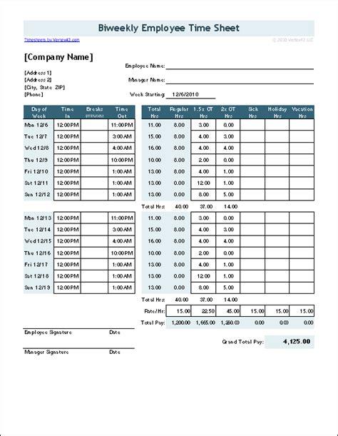 biweekly timesheet calculator with lunch bi weekly time card break