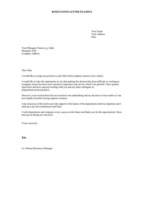 What Should A Resignation Letter Say by Resignation Letter Exle In Word And Pdf Formats