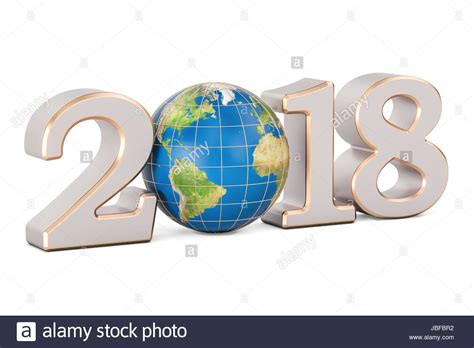 new year earth 2018 happy new year 2018 with earth globe concept 3d rendering