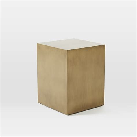 cube side tables metal cube side table antique brass west elm