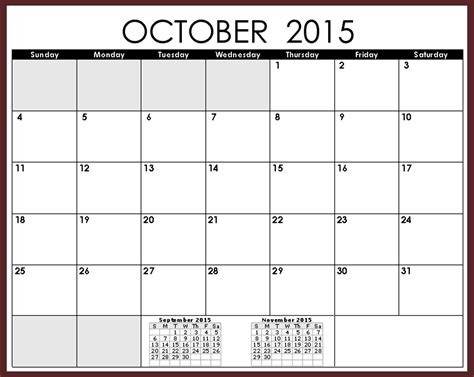 printable monthly calendar for october 2015 october 2015 calendar with holidays printable 2017