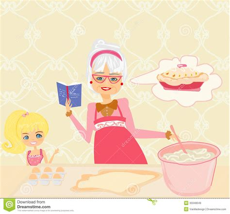 Mother Daughter House Plans Grandma Baking Cookies With Her Granddaughter Royalty Free