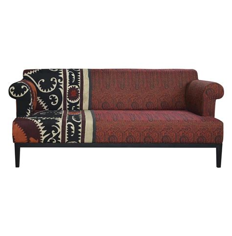 paisley couches vintage suzani red paisley global bazaar sofa kathy kuo home