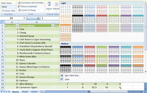 layout table exle put excel 2007 s new table feature to work for you