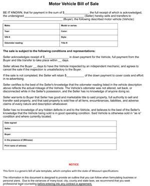 missouri bill of sale form 8ws templates forms