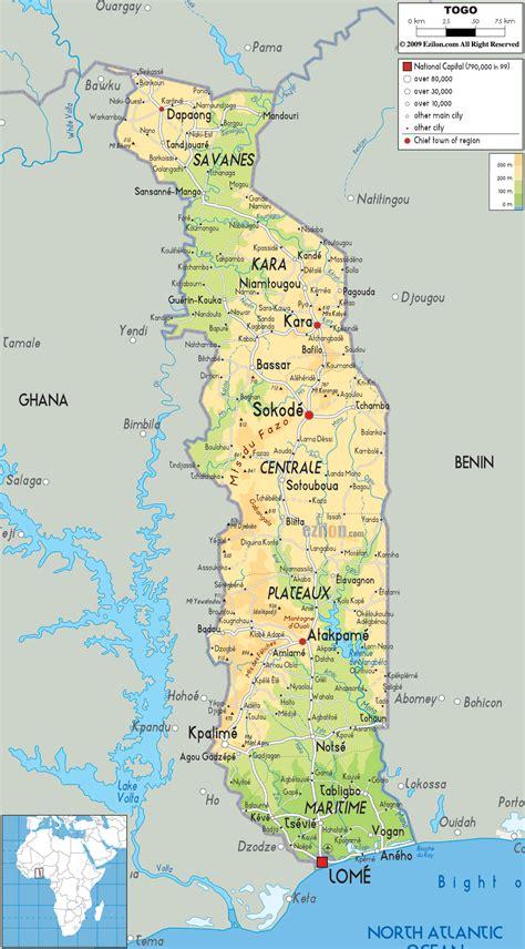 political map of togo physical map of togo ezilon maps
