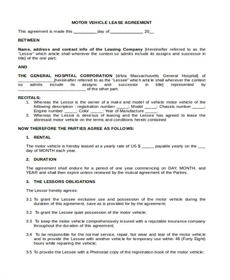 truck lease agreement template sle commercial lease form 9 free documents in pdf doc