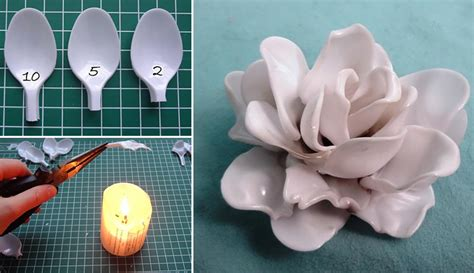 fiori con cucchiaini di plastica how to make plastic spoon flower necklace diy crafts