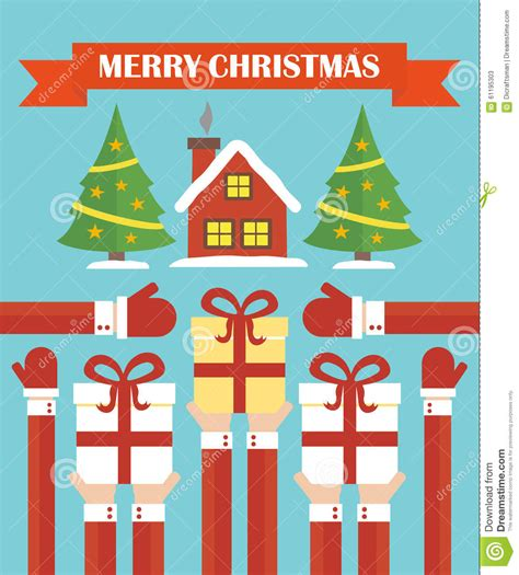 merry christmas modern flat design stock vector image