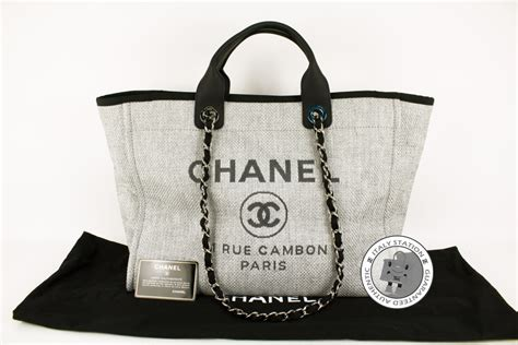 Deauville Shopper Tote Bags Printed authentic chanel 2016 new a66941 deauville shopping grey fabric large tote bag ebay