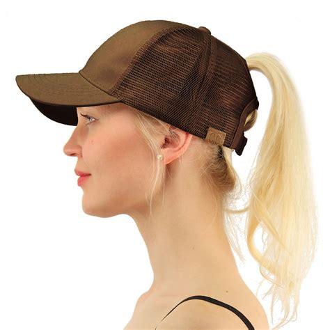 c c ponytail buns trucker ponycaps plain baseball