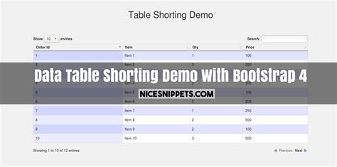 bootstrap layout data data table shorting demo with bootstrap 4