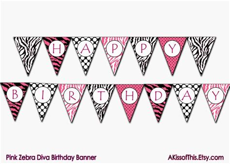 free printable vintage happy birthday banner only zebra print letters a z pink zebra diva happy