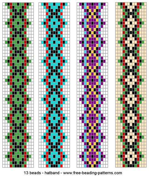 bead patterns hatband patterns green predominates beading