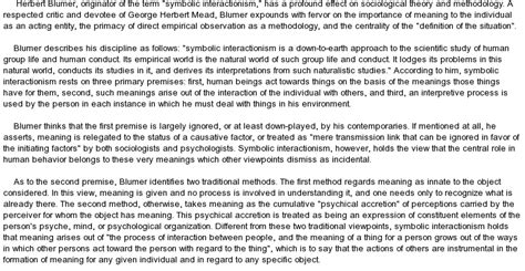 Symbolic Interactionism Essay by Summary Of Symbolic Interactionism At Essaypedia