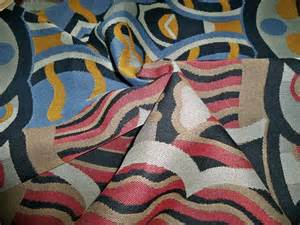designer abstract deco upholstery fabric multi blue