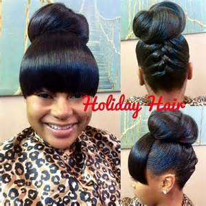 images of black braided bunstyle with bangs in back hairstyle cute updo with bangs curls buns braids bobs knots