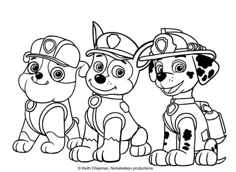 coloring pages of chase from paw patrol rubble chase and marshall coloring page