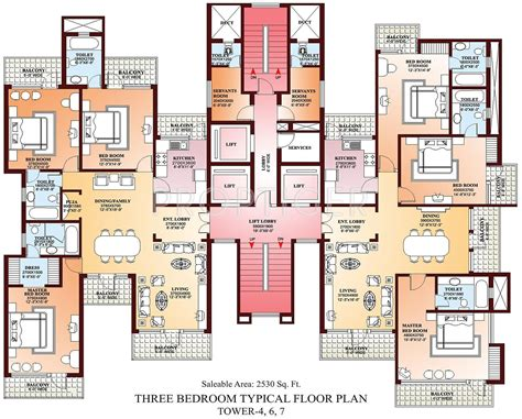four bedroom flat floor plan parsvnath la tropicana in civil lines delhi price