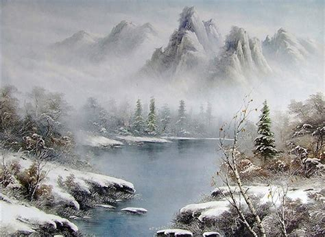 Lake And Mountains In Fog Style Of Bob Ross Painting In