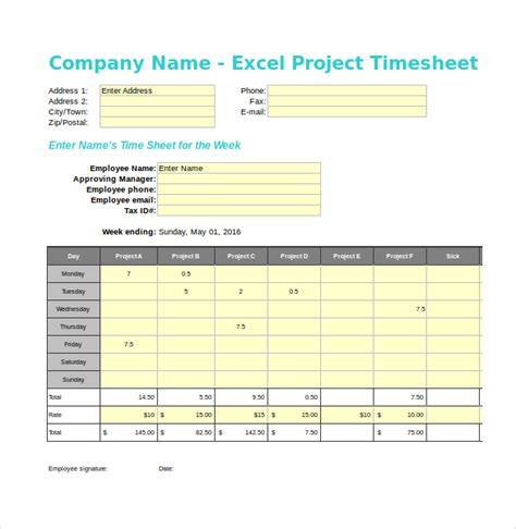 21 project timesheet templates free sle exle