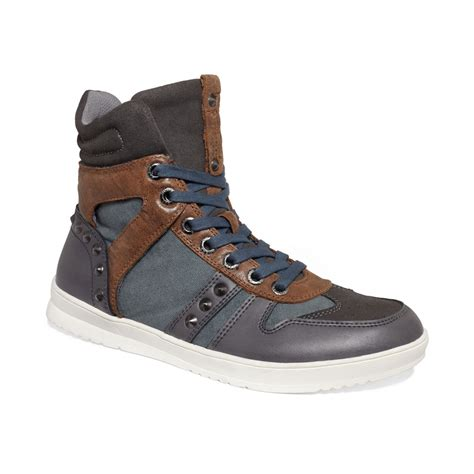 guess mens shoes tredd sneakers in gray for grey lyst