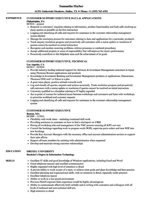 resume templates customer care executive examples best technical