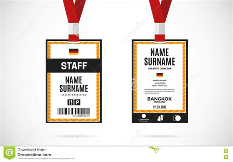 staff card template staff id card set vector design illustration stock vector