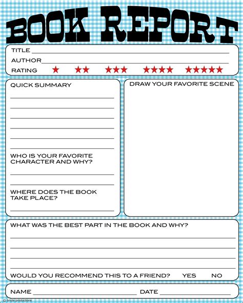 printable book template free book report printable great for lower primary