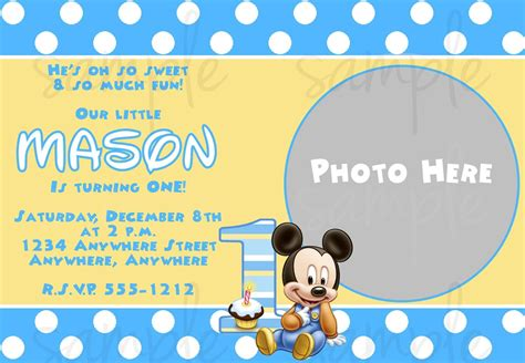 free printable baby 1st birthday invitations mickey mouse templates studio design gallery best