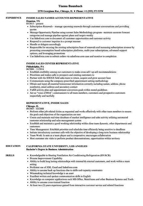 Inside Sales Representative Sle Resume by Representative Inside Sales Resume Sles Velvet