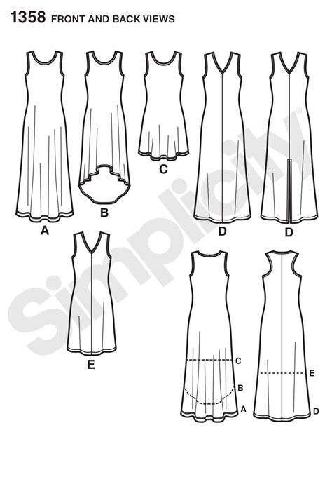Simplicity 1358 Misses' Knit Dresses with Length and