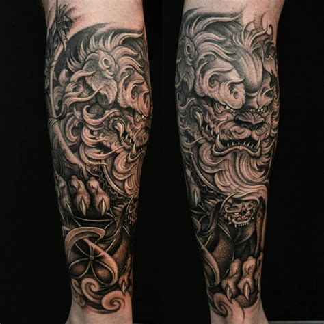 japanese dog tattoo foo forearm 1 2 sleeve tattos foo